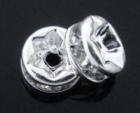 Rondelles strass crystal AB et argent 5mm X 4