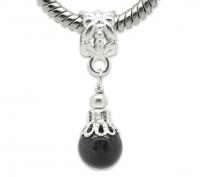 Pendentifs Perles oeil de Chat verre  Noir Argenté  28x8mm X 10