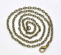 Chaîne Maille Forçat petit plat Fermoir mousqueton Bronze 46cm