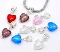 Mixte Pendentifs Perles Verre Coeur 27x12mm X 10