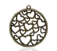 Pendentifs  Coeur Couleur bronze 35x32mm X 2