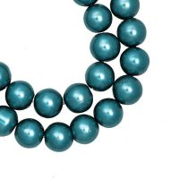 Perles Nacrées  Rondes Bleu vert  8mm  X 25