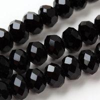 Perles Cristal ,noires   8x6mm X 70