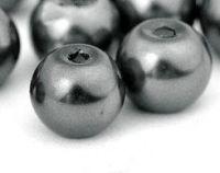 Perles Nacrées  Rondes Gris Foncé 10mm  X 25