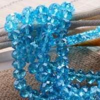 Perles light sapphire 4x6mm bleue X 98