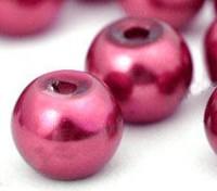 Perles Nacrées Rondes rouge 6mm  X 25