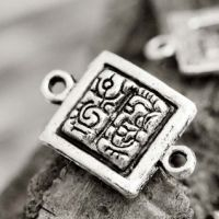 Connecteurs Rectangle Argent Tibétain 19x12mm 