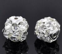 Perles de Strass Boules Argentées  12mm X 10