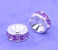 Rondelles Strass violet et argent  8mm X 4
