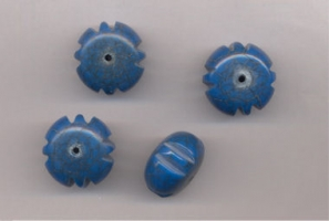 Perles resine rondes aplaties striees 24 x 15  mm