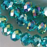 Perles  cristal ,vert emerald AB  6x8mm,   X 64