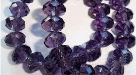 Perles  cristal ,violet  6x8mm,  X 70