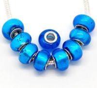 Perles  bleues  14x10mm X 10