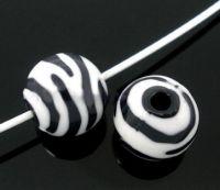 Perles  Zébrées Acrylique Ronde  11mm X 10