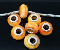 Perles Verre orange     9 X 15mm X 10