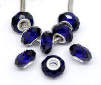 Perles de verre à facettes  cobalt  14x9mm X 10