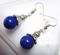 Boucles d'oreilles blue lazuli en plaque argent X 1 paire