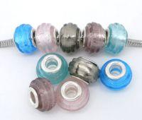 Mixte Perles lampwork verre Rayure  14x10mm X 10