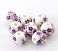 Perles  Céramique Motif fleur violet 12mm  X 10