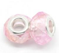 Perles en Verre Facette Rose clair Couleur AB  14x9mm X 10