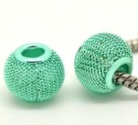 Perles mailles stressees ajourees  vertes  12 x 10 ( diametre du trou= 5 mm ) X 10
