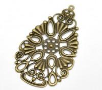 Pendentifs/Connecteurs Fleur Filigrane Couelur Bronze 6.8x4cm X 5