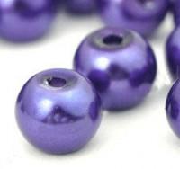 Perles Nacrées Rondes violet 6 mm  X 25