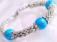 Bracelet d' en turquoise argent tibétain de bijoux, 19cm X 1