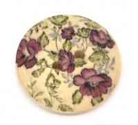 Boutons Couture Bois Fleur 2 Trous Scrapbooking 23mm X 10