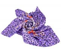 Foulard chaîne  motif leopard  mousseline de soie  95x88cm X 1