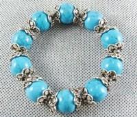offre spéciale !!! Bracelet perles de turquoise & argent tibétain, 19cm X 1
