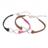 Mixte tissé main Infinity Bracelet Black Coffee Fuchsia X 2