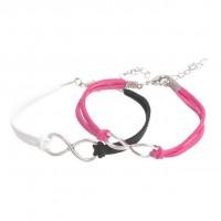 Mixte tissé main Infinity Bracelet White Black Fuchsia X 2