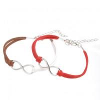 Mixte tissé main Infinity Bracelet Red Coffee White X 2