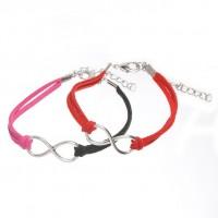 Mixte tissé main Infinity Bracelet Black Fuchsia Red X 2