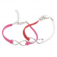 Mixte tissé main Infinity Bracelet White Red Fuchsia X 2