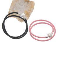 Bracelet double en cuir fermoir Noir et Rose 40 cm X 2