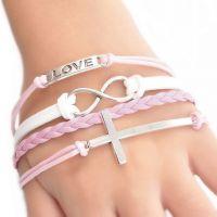 Mode main Infinity Charms Bracelets   cuir  20cm