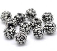 Perles Intercalaires Acrylqiue Rondes Couleur Gunmetal 12mm X 10