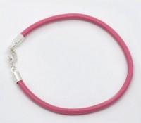 Bracelet Cuir Rose Fermoir à Mousqueton Argenté 19cm X 1