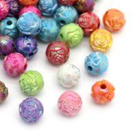 Mixte Perles Acrylique Fleur Couleur AB 8mm ...Taille du trou 1.2 mm  X 50