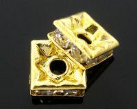 Rondelles strass Carré Strass crystal Couleur Doré 6x6mm X 4