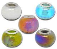 Perles Lampwork Verre Couleur AB  14x10mm X 10