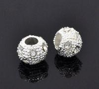 Perles  Argenté Boule Strass Blanc  10mm  X 10