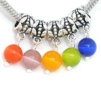 Mixte Pendentifs Perles oeil de chat verre  24x6mm X 10