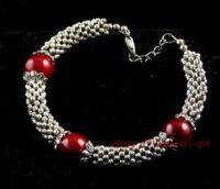 homme bijoux , bracelet corail en argent tibétain, 20cm