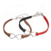 Mixte tissé main Infinity Bracelet  Café , Noir et Rouge X 2