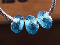 Perles Lampwork , perles de Murano et argent Mixte turquoise    15 x 9 et trou 4.5 X 10