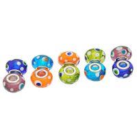 Perles Lampwork , perles de Murano et argent  15 x 9 et trou 4.5   Mixte X 10