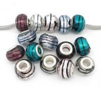Mixte Perles Lampwork , perles de Murano Rayées   14x10mm  trou : 4.5 mm X 10